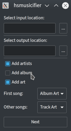 Input, output, artists, albums, art, first song art and other song art
